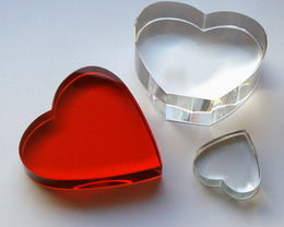 crystal glass hearts