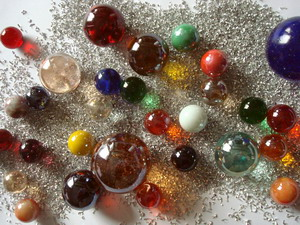 Glass marbles mixed for decoration