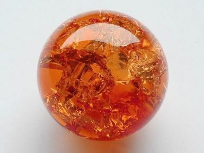 Crystal Glass Balls 40 mm Orange | Cracked Glass Balls | Glass Balls Splintered Effect