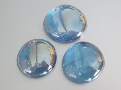 Glass Pebbles 28-30 mm Light Blue | Shimmering Surface | 1 Kg | Glass Nuggets