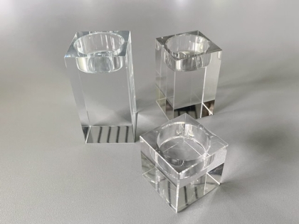 Crystal glass candleholder tea lights - 3 pieces 1