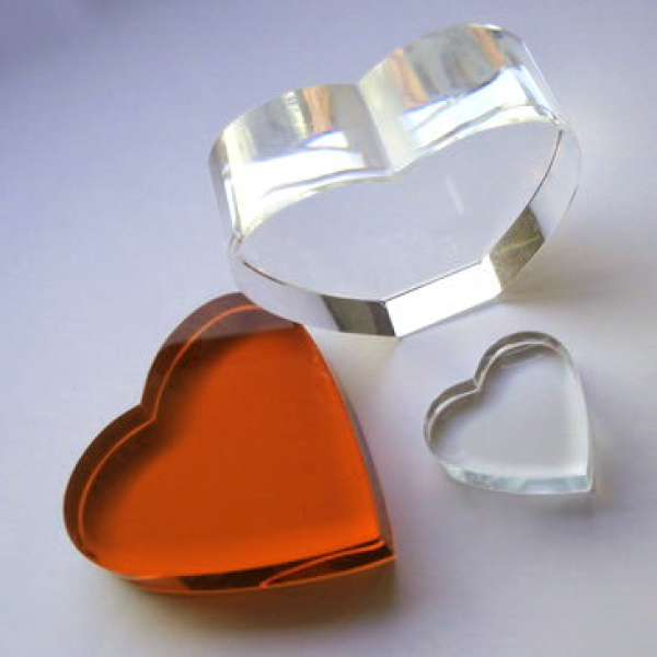 Crystal Glass Hearts 80x80x15mm Orange | optically clean
