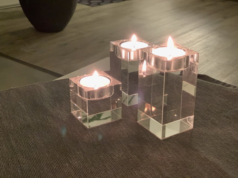 Crystal glass candleholder tea lights - 3 pieces 2