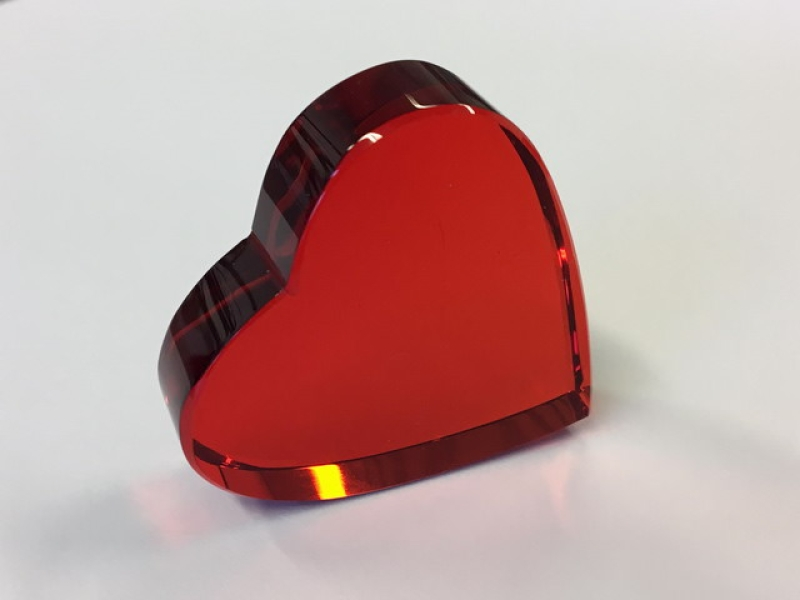 Crystal Glass Hearts 40x40 mm Ruby Red | optically clean