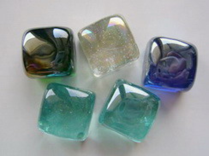 Glass Quader  25x25 mm Turquoise| Shimmering Surface | 1 Kg