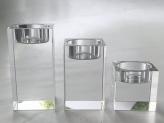 Crystal glass candleholder tea lights - 3 pieces