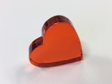 Crystal Glass Hearts 40x40 mm Orange | optically clean