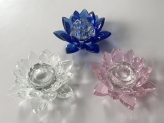 Crystal Candle holder lotus flower blue, pink and clear